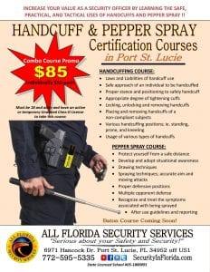 handcuff pepper spray certification class Palm Beach